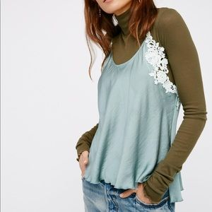 Free People Woah Appliqué Cami Green Size Large